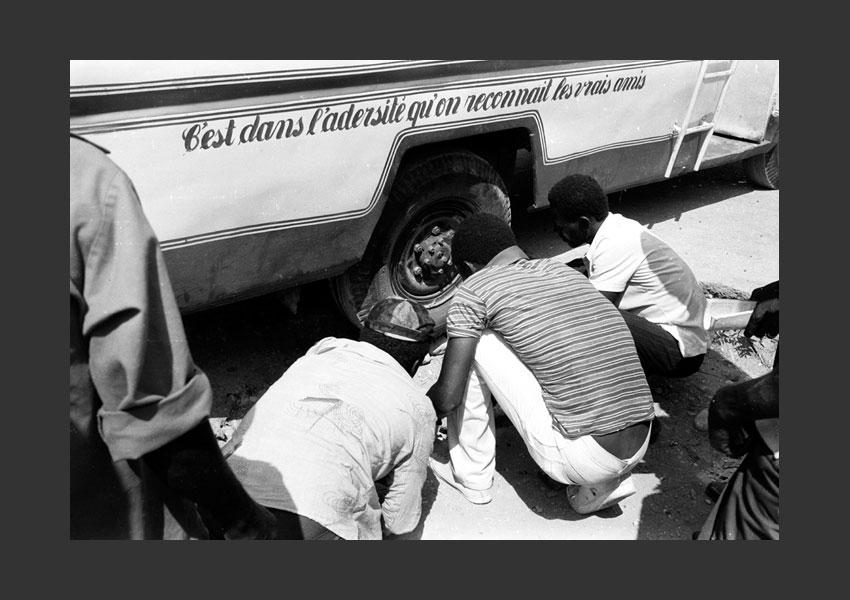 'Solidarité'. Gare routière, Port au Prince Haïti 1982.