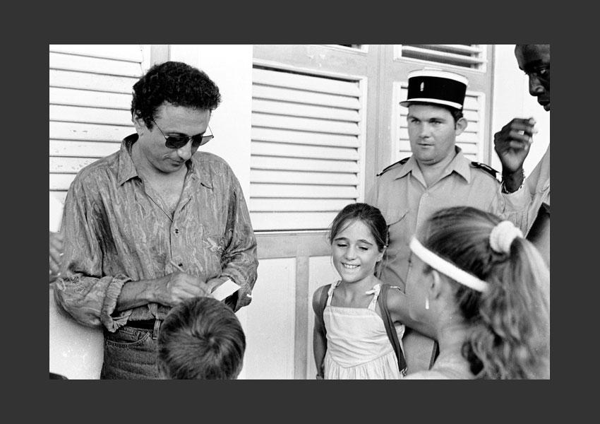 Michel Drucker, tournage de Champs Elysées, Marie-Galante le 7 mai 1987.